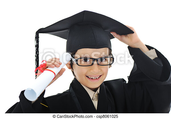 Diploma graduating little student kid, successful elementary school - csp8061025