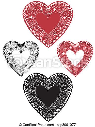 Vintage Lace Heart Doilies - csp8061077