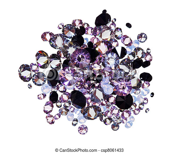 Many small purple diamond (jewel) stones heap isolated on white - csp8061433