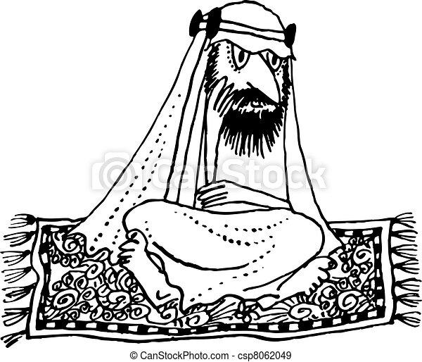 EPS Vectors of Arab flying - Arab thinking on the flying carpet ...