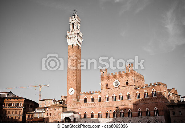 historisk, arkitektur,  Siena - csp8063036