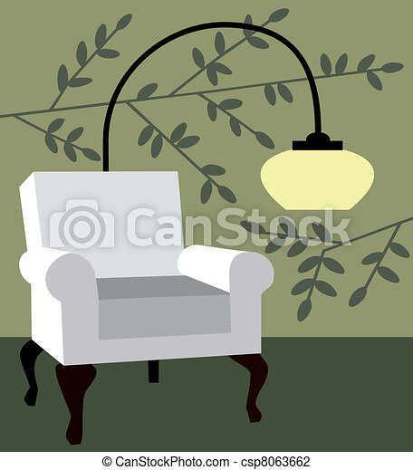 White armchair on natur background - csp8063662