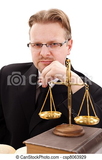 Serious attorney with golden scale - csp8063929