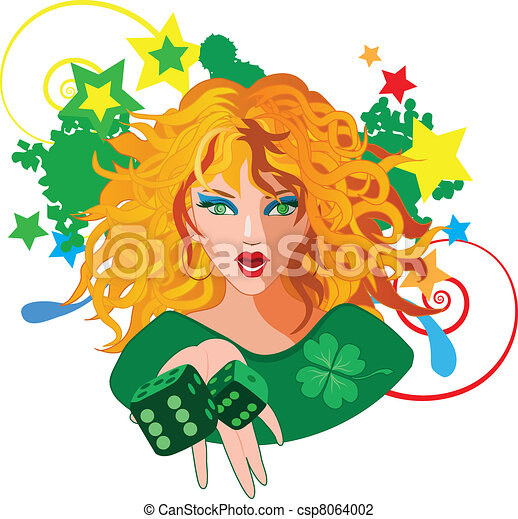 Woman throwing the dices for gambling - csp8064002