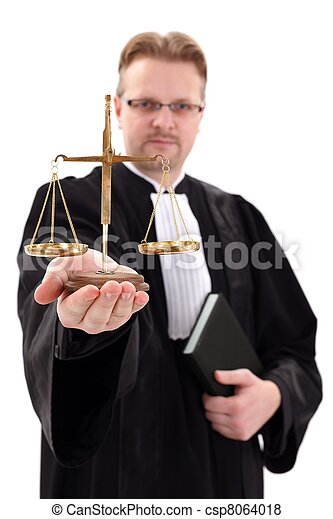 Judge showing scale of justice - csp8064018