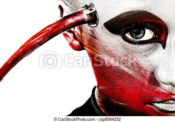 Close Up Alien Face Artistic Cosmetics - csp8064232