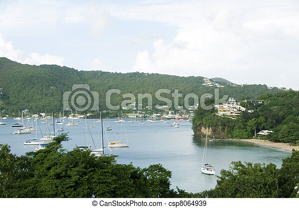 Port Elizabeth harbor with yachts sail boats tankers with view of Hamilton residences Princess Margaret Beach Bequia St. Vincent and The Grenadines in Caribbean Sea - csp8064939