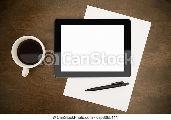 Workplace With Blank Digital Tablet - csp8065111