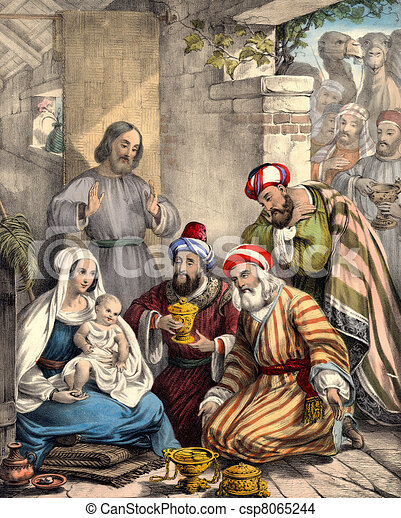Wise men bring gifts to Baby Jesus - csp8065244