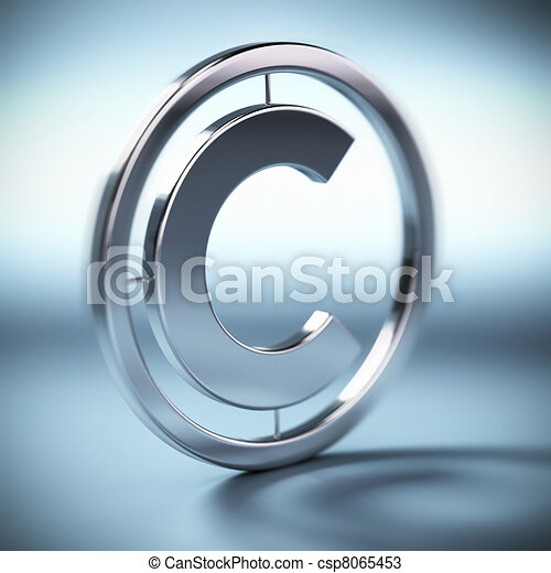 metal copyright symbol onto a blue background square image with blur - csp8065453