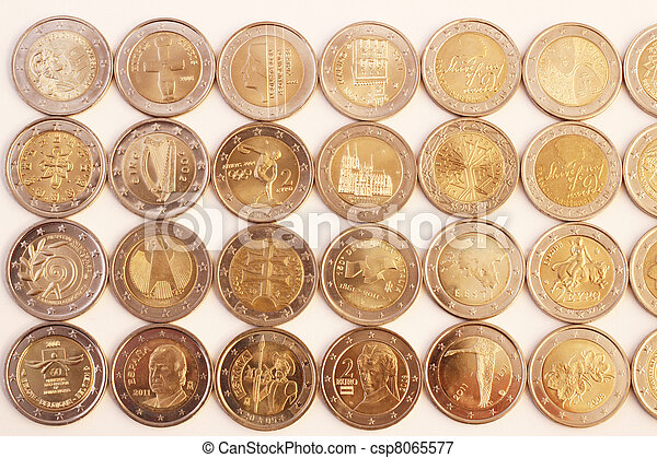 Picture of 2 euro coins obverse side of 2 euro coins - Stock piastrelle 2 euro ...