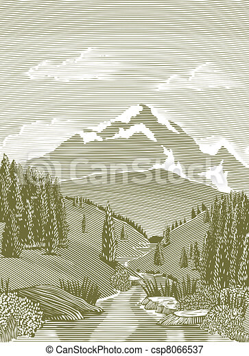 Woodcut River Scene - csp8066537
