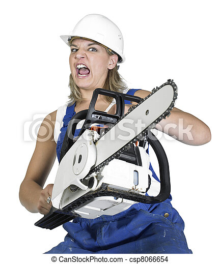 Stock Photo - weird chain saw girl - stock image, images, royalty free ...