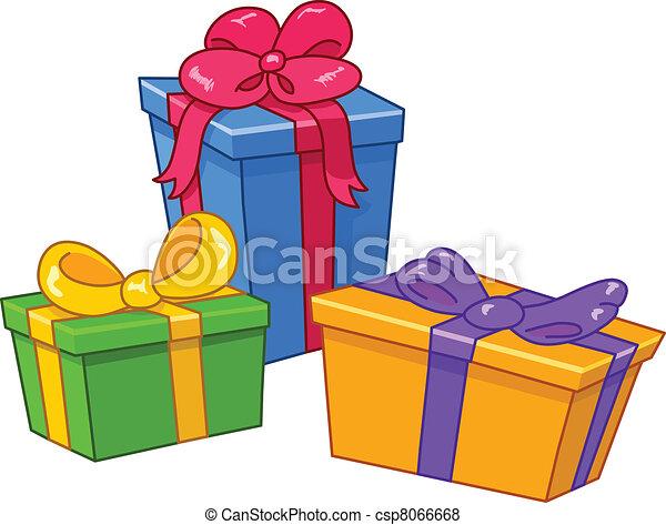 Vector de caricatura, regalos, todos, regalos, separado, capas ...