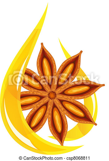 Anise oil. Stylized drop. - csp8068811