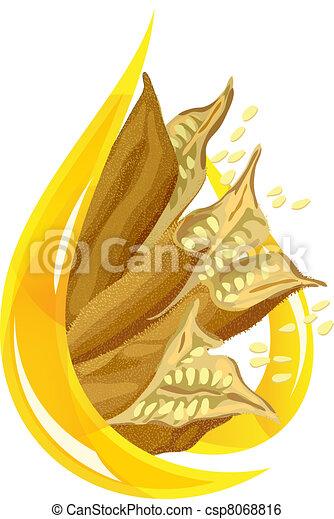 Sesame oil. Stylized drop. - csp8068816