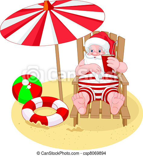 Santa Claus relaxing on the beach  - csp8069894