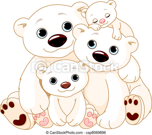 Big Polar bear family - csp8069896