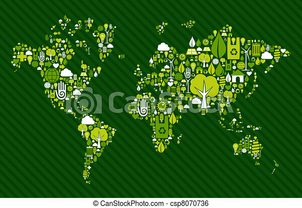 Globe World map with green icons - csp8070736