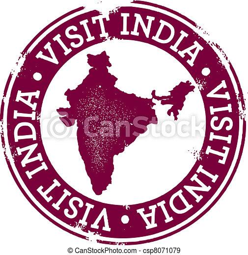 Vintage Visit India Stamp - csp8071079