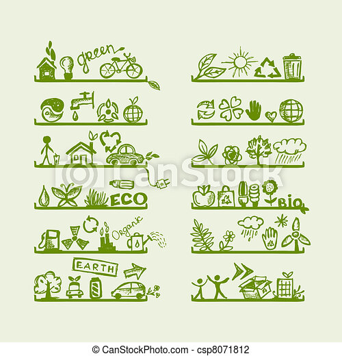 Shelves with ecology icons for yuor design - csp8071812