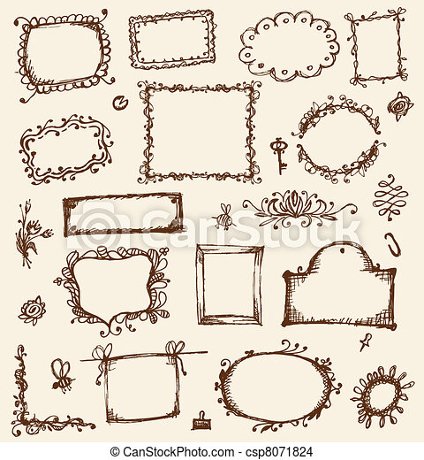 Sketch of frames, hand drawing for your design - csp8071824