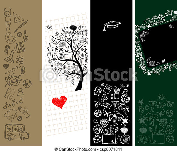 School banners design with place for your text  - csp8071841