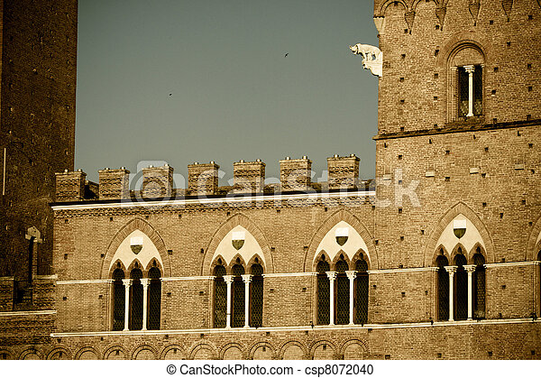 histórico, arquitetura,  Siena - csp8072040