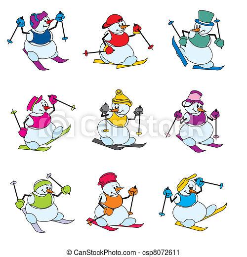 Clip art vecteur de bonhomme de neige skieur ensemble vecteur couleur csp8072611 - Clipart bonhomme de neige ...