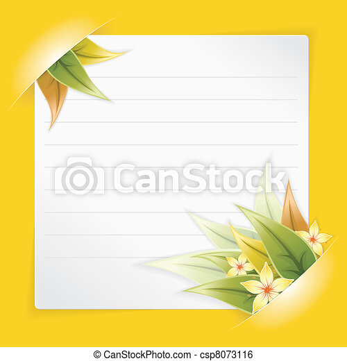 Sheet of white Paper Mounted in Pockets - csp8073116