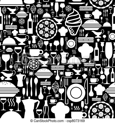Gourmet icon set pattern - csp8073169