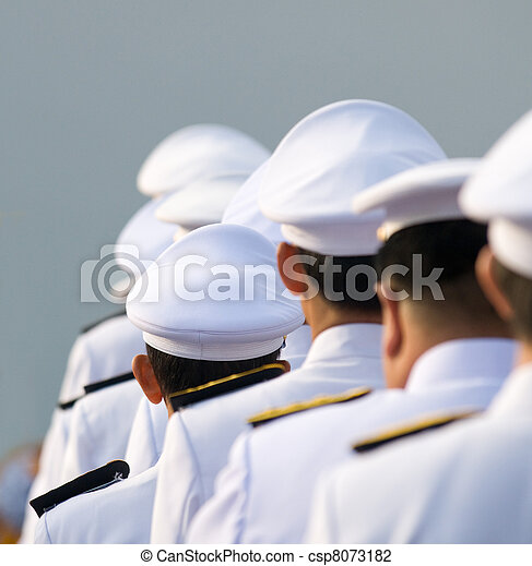 Military officers in parade uniforms - csp8073182
