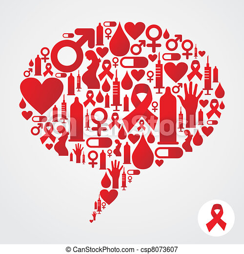 AIDS icons in communication bubble silhouette - csp8073607