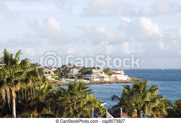 hotel villa development beach  Simpson bay St. Maarten St. Martin Caribbean Island - csp8073927