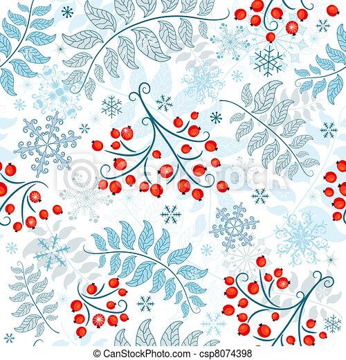 Winter seamless white pattern - csp8074398