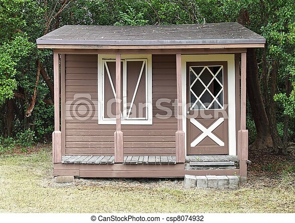 Stock photo of wooden shed rustic wooden shed with for Rustic shed with porch