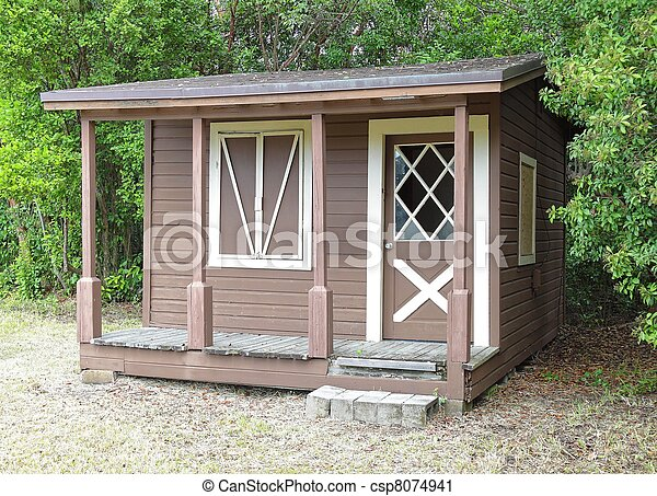 Stock photography of wooden shed rustic wooden shed with for Rustic shed with porch