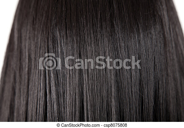 Texture of black shiny straight hair - csp8075808