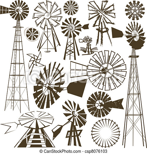 Vectors of Windmill Collection - A clip art collection of various ...