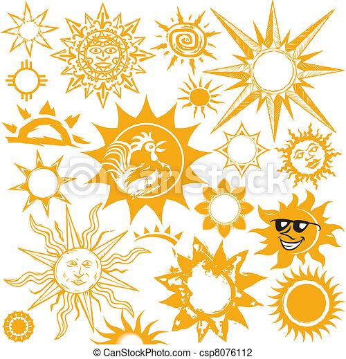 Sun and moon tribal drawing vector tribal tattoo set sun - Vector Illustration Of Sun Collection Clip Art Set Of