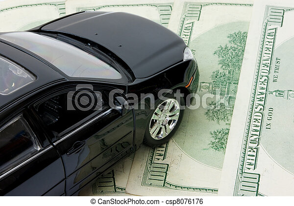 Black automobile over Money Background - csp8076176