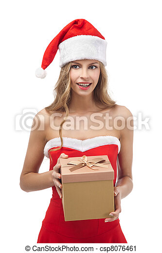 Happy Christmas woman holding gift wearing Santa costume  - csp8076461
