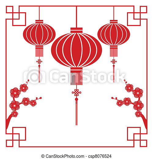 Chinese New Year greeting card - csp8076524