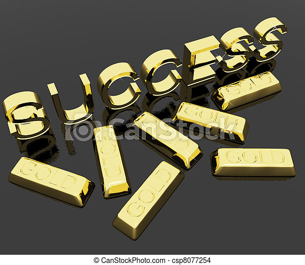 Success Text And Gold Bars As Symbol Of Winning And Victory - csp8077254