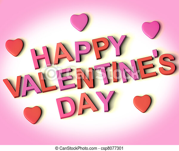 Red And Pink Letters Spelling Happy Valentines Day With Hearts As Symbol for Celebration And Best Wishes - csp8077301