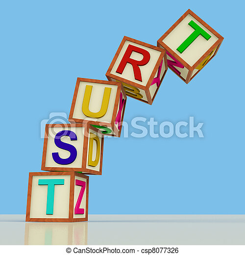Wooden Blocks Spelling Trust Falling Over As Symbol for Lack Of Confidence - csp8077326