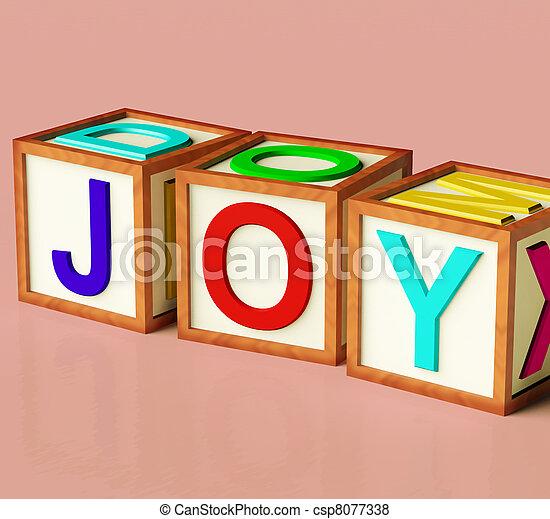 Kids Blocks Spelling Joy As Symbol for Fun And Playing - csp8077338