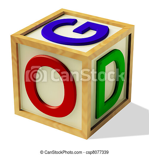 Block Spelling God As Symbol for Faith And Religion - csp8077339