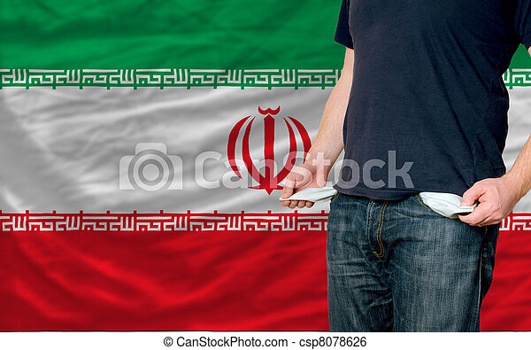 poor man showing empty pockets in front of iran flag