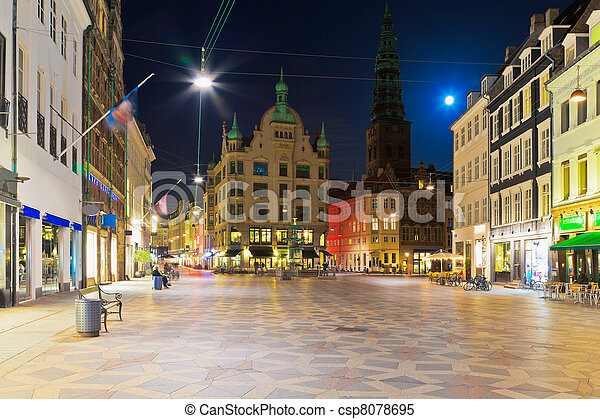 Night scenery of the Old Town in Copenhagen, Denmark - csp8078695